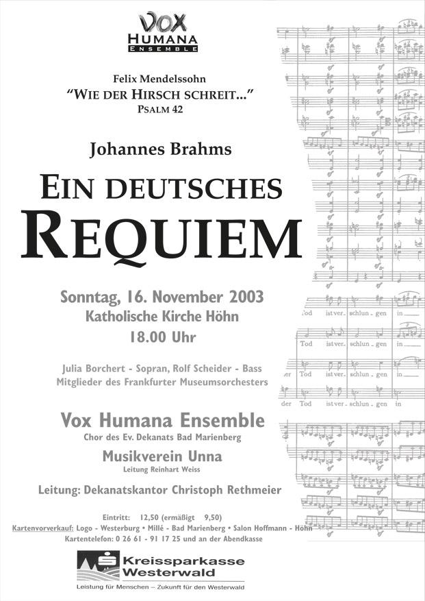 Brahms-Plakat, Ein Deutsches Requiem 2003